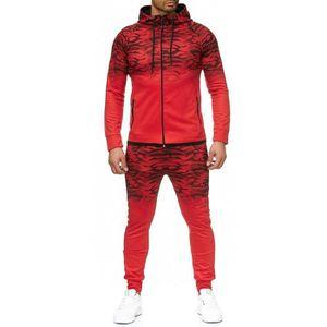 SURVÊTEMENT Ensemble jogging bi ton camouflage rouge