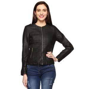 BLOUSON - VESTE Veste en cuir noir pour femme VT3FL Taille-40