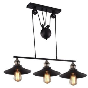 LUSTRE ET SUSPENSION Lustre Suspension Industrielle Poulie 3 Lampes Pla