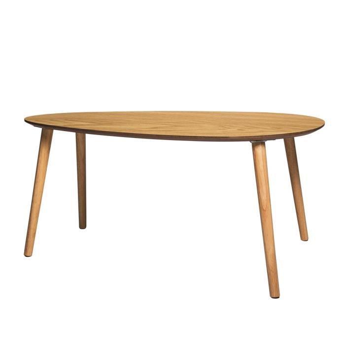 DROP Table basse - Imitation bois - L 92cm x P 60cm x H 40 cm
