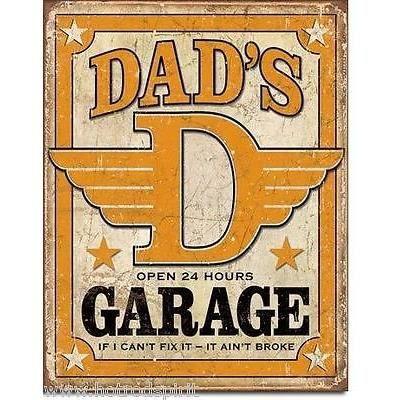 plaque publicitaire dad 39 s garage d co americaine tole m tal diner bar loft 1894 achat vente. Black Bedroom Furniture Sets. Home Design Ideas