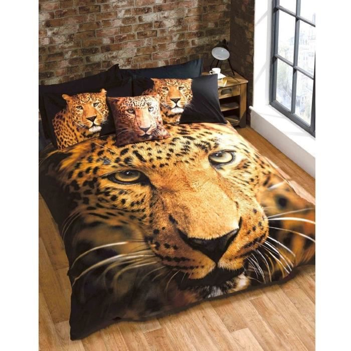 Parure de lit leopard achat vente pas cher for Parure lit double