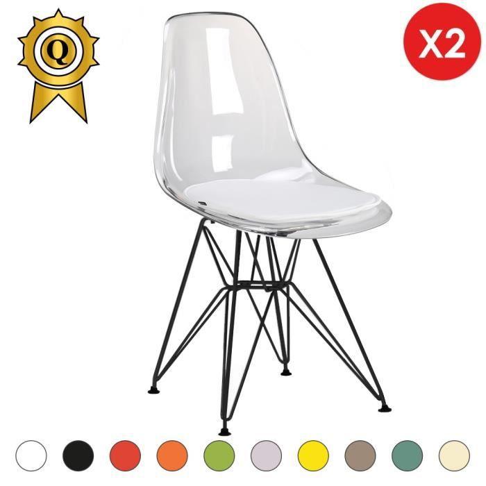 2 X Chaise Design Inspiration Eiffel Eames DSR Acier Vernis Noir Transparent MobistylR