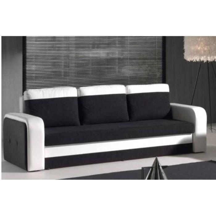Canapé convertible express NYX en bi-matière noir et blanc - Achat ...