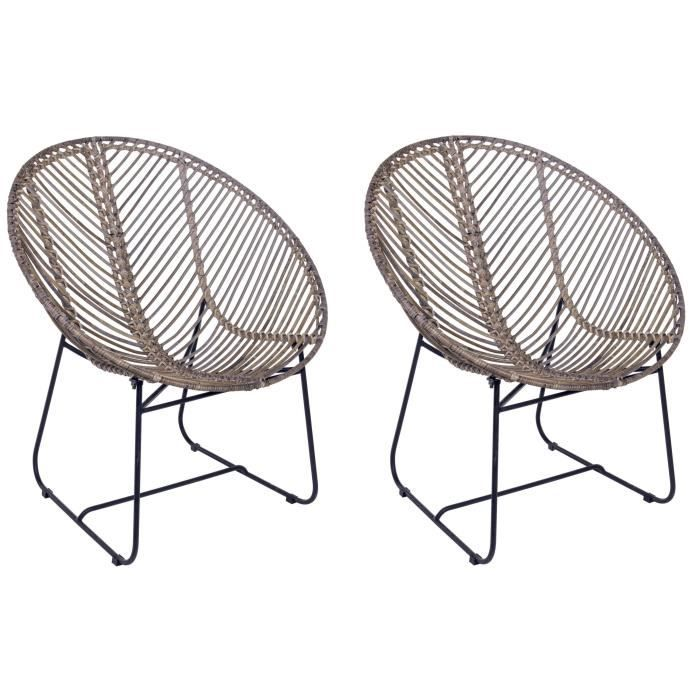FAUTEUIL MARYANN Lot de 2 fauteuils - Structure en fer gris