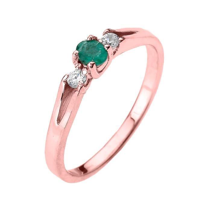 Bague Femme 14 Ct Or Rose Diamant Avec Emeraude Et Pierre De Naissance