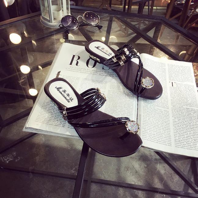Strass D'été Benjanies Sandales Plates String Plat Femmes Flip Les Flopnoir Talon Chaussures y8wvNO0nm