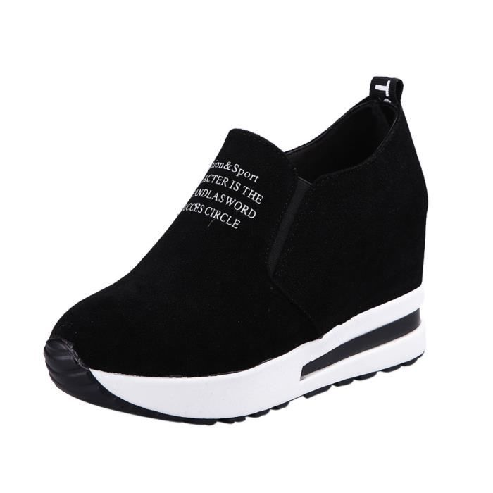 forme Compensées on Épais Sneakers Flock Casual Mode Femmes Sport Slip Plate Noir nx0HaqvCw