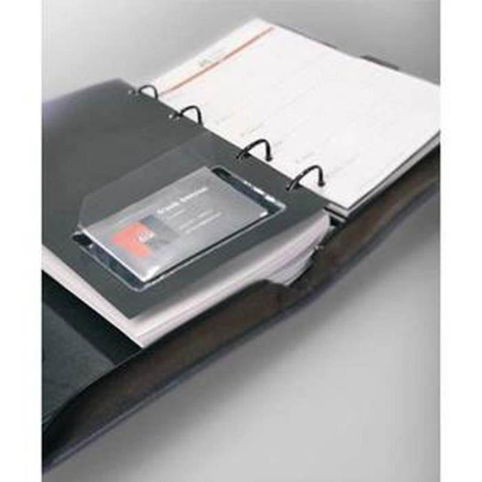 Lot De 2 Sachets 10 Porte Cartes Visite Adhesifs En Polypro Format 94 X 63 Cm Ouverture Grand Cote Transparent