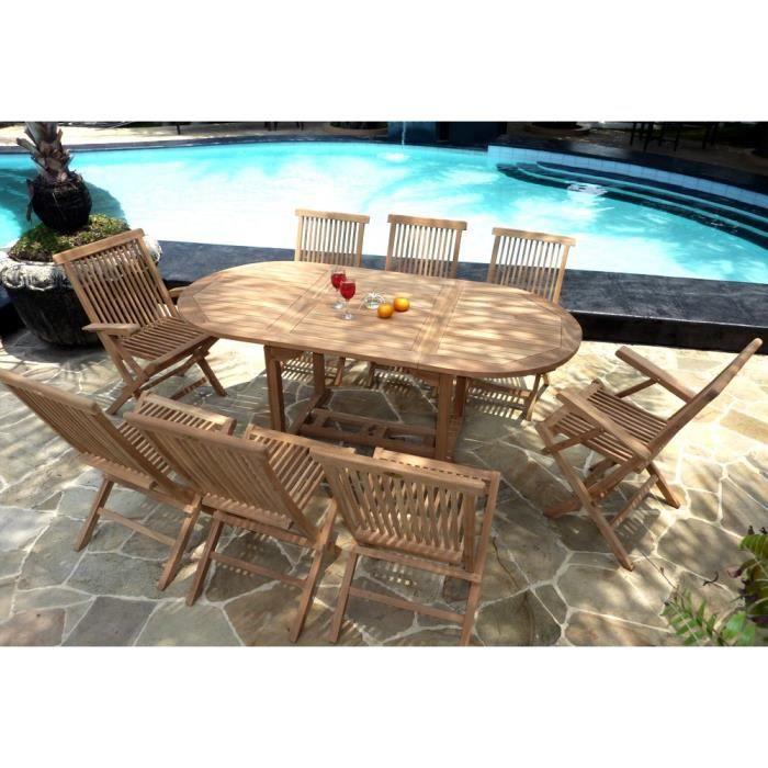 Salon de jardin en teck pour 8 personnes - table ovale - chaises et ...