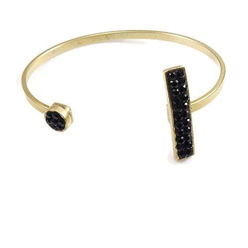 Femmes en cristal noir plaqué or réglable Bracelet R3CI6