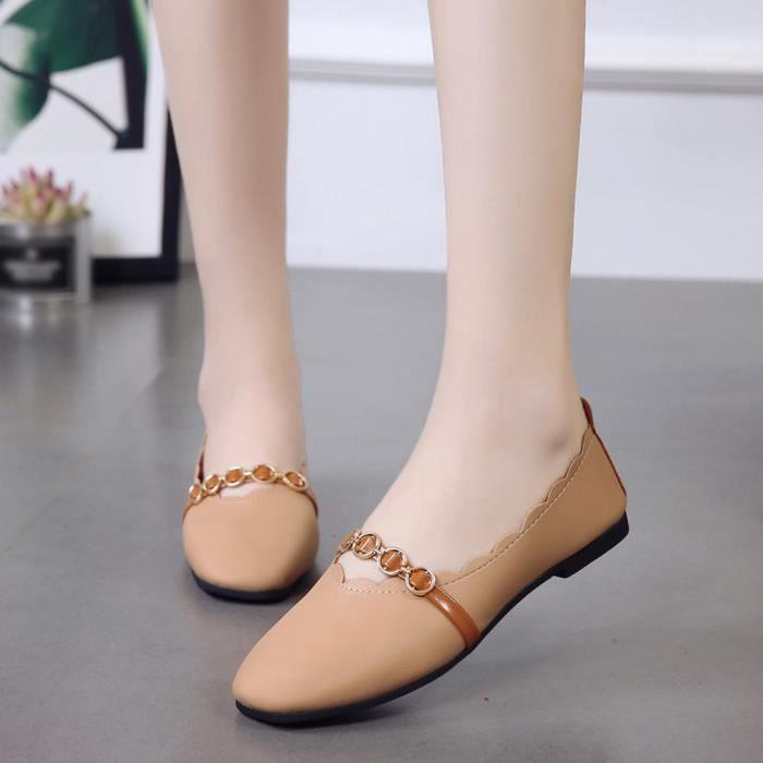 Pure Faible Chaussures Color Simples Talon Marron Shallow Slip Carré Bout Plat Femmes tqx0AOwn