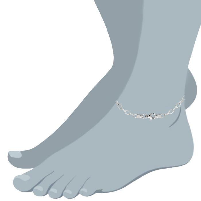 Câble torsadé lien Anklet en argent Sterling, 9 de forme ovale