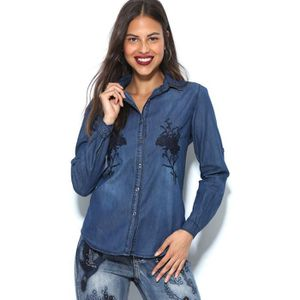 150542fc8601 CHEMISE - CHEMISETTE Chemise en jean manches longues broderie femme ...