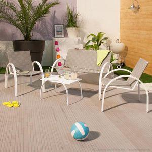 Salon de jardin bas 4 places en acier : canapé + 2 fauteuils + table ...