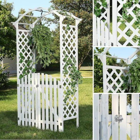 Arche De Jardin A Rosiers Avec Portillon Blanc Achat Vente Arche