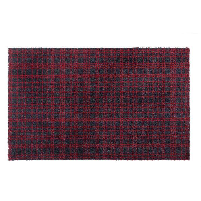 Couleur noire rayée rouge - Lavable 30° - 100% Polyamide - 60x100 cm - Usage intérieurTAPIS D'ENTREE - TAPIS DE SEUIL