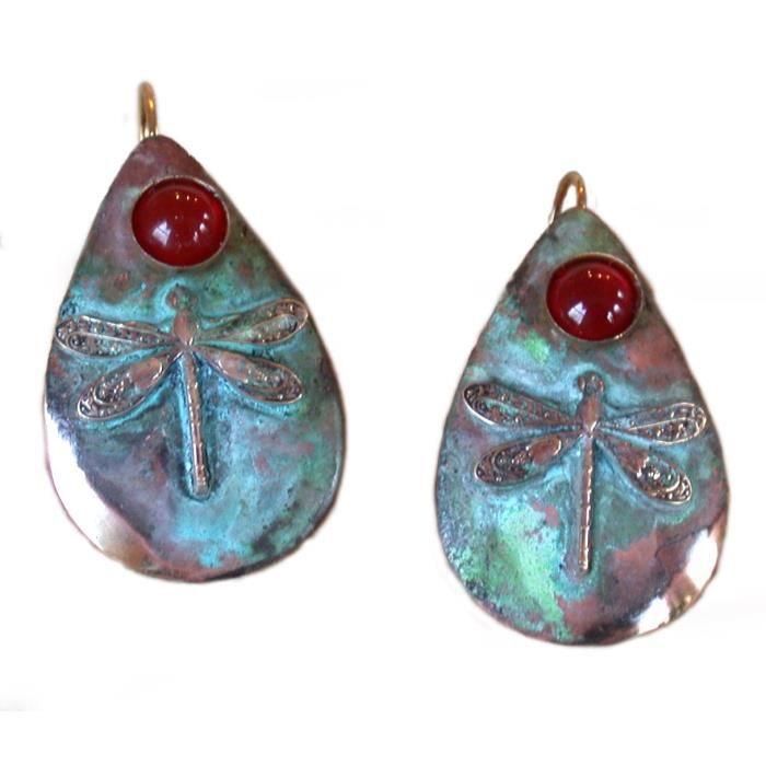 Womens Dragonfly Patina Teardrop Earrings - Carnelian DTHMD