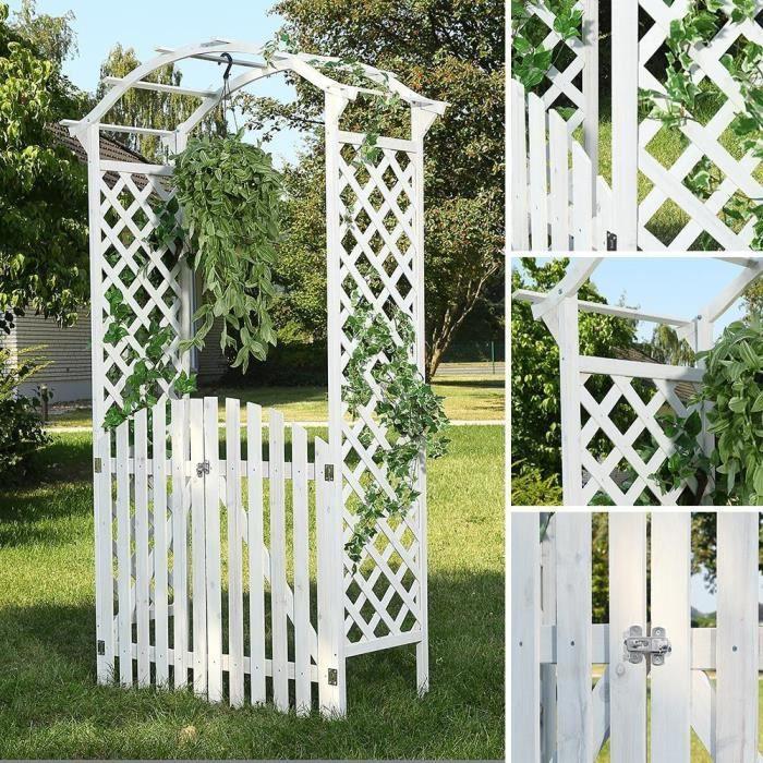Arche De Jardin A Rosiers Avec Portillon Blanc