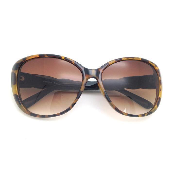 Sexy Leopard Cat Eye lunettes de soleil élégantes en plastique avec temples tressées mignon