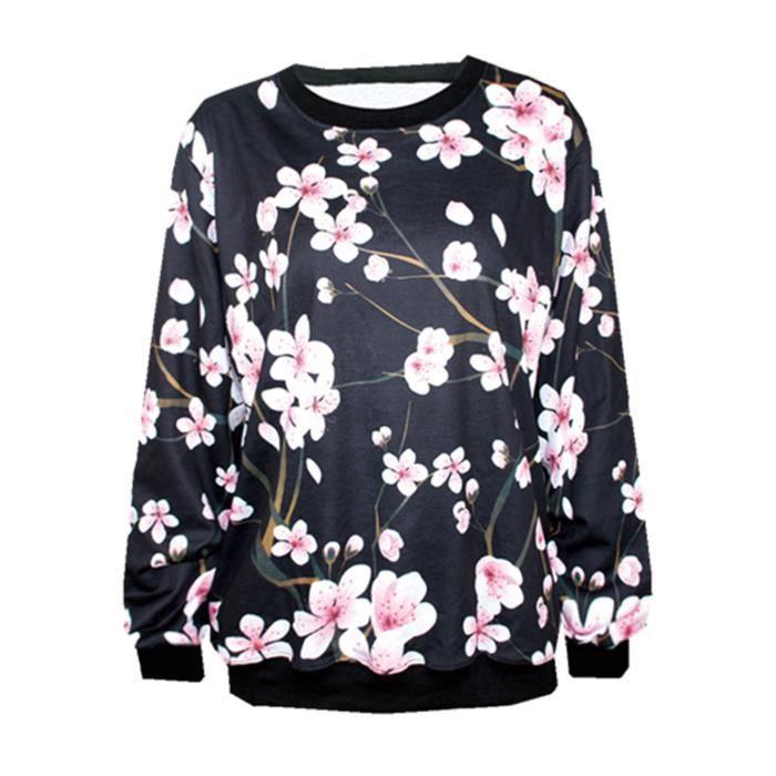 6f7611089d65 Femme Fille Tops de Loisir T-Shirts Blouse Fleur Imprimé Léger ...
