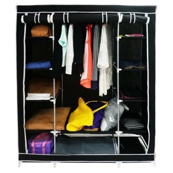 penderie en tissu meuble de rangement placard noir 172 134 43cm achat vente penderie souple. Black Bedroom Furniture Sets. Home Design Ideas