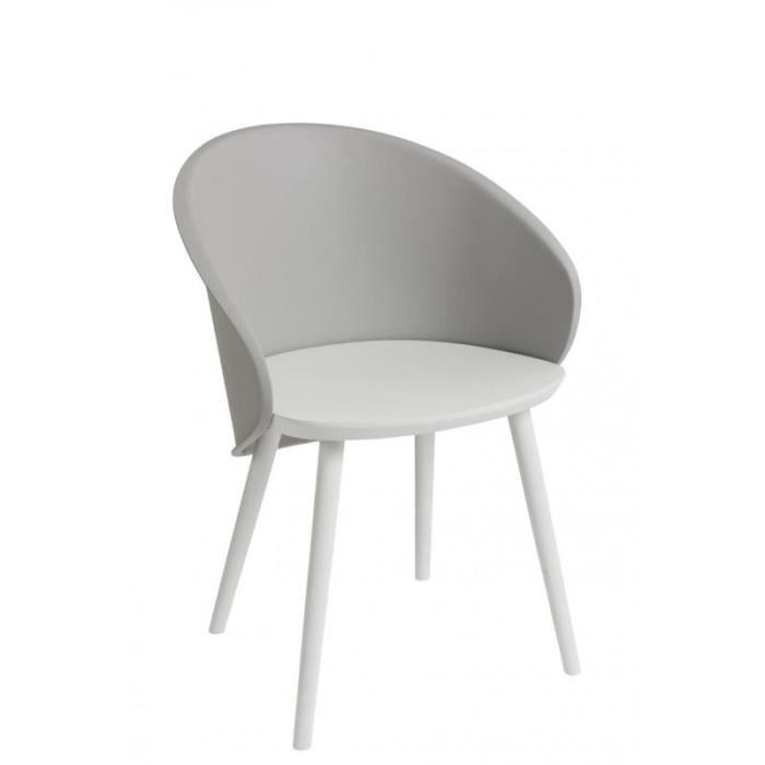 chaise chaise coque moderne grise en propylne et bois bl - Chaise Coque