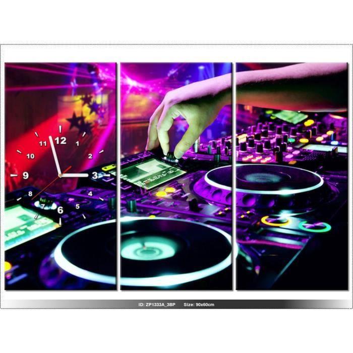 90x60cm -DJ MUSIQUE - TABLE DE MIXAGE - HORLOGE MURALE TABLEAU ...
