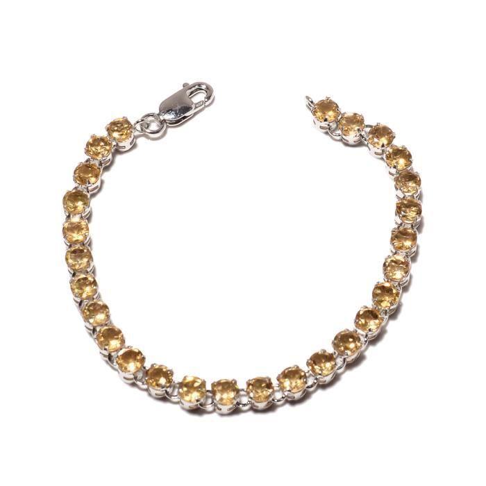 Be You plaqué étonnant citrine jaune doré réelle pierres précieuses rhodium bracelet en argent sterling pour les femmes