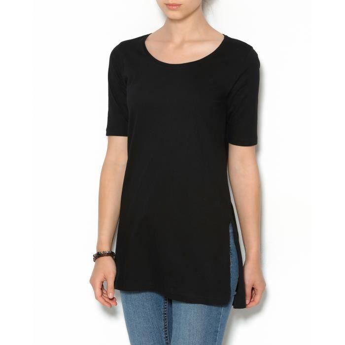 45b94c10bc2 Tee-shirt long fendu manches courtes femme Noir Noir - Achat   Vente ...