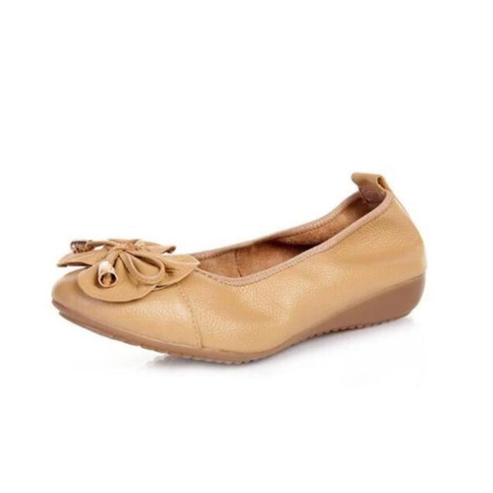 Moccasin femmes Marque De Luxe Haut qualité En Cuir Chaussures Poids Léger Durable Antidérapant 2017 ete Grande Taille py6LbK3NJ