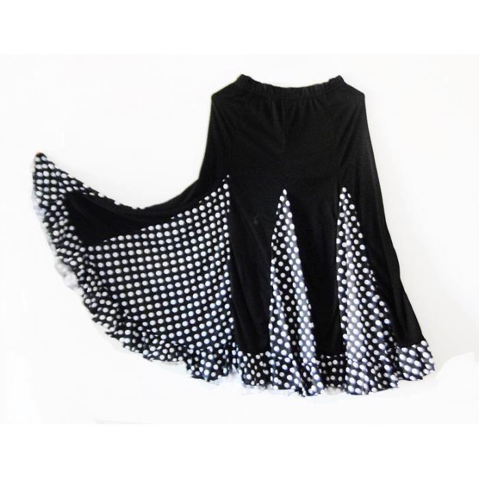 9b1616a8916191 Jupe espagnole de danse flamenco andalouse noir pois blanc adulte ...