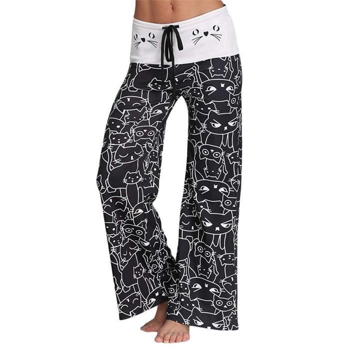 3e4a8f902d4 Pantalons Large Femme Mi-Taille Pantalon Coton Imprimé à Chat avec Cordon  Micro-élastique Décontracté et Élégant