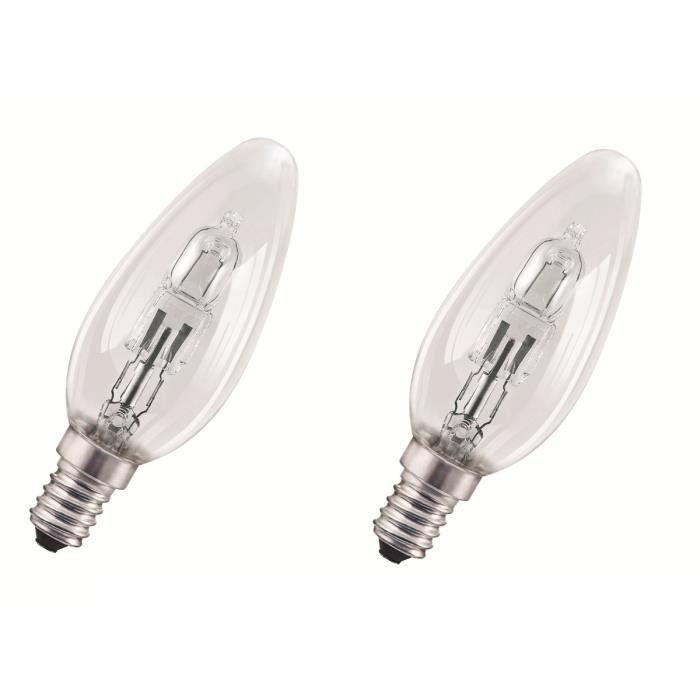 AMPOULE - LED OSRAM-Lot de 2 Ampoules Halogène Eco Flamme E14 Ø3