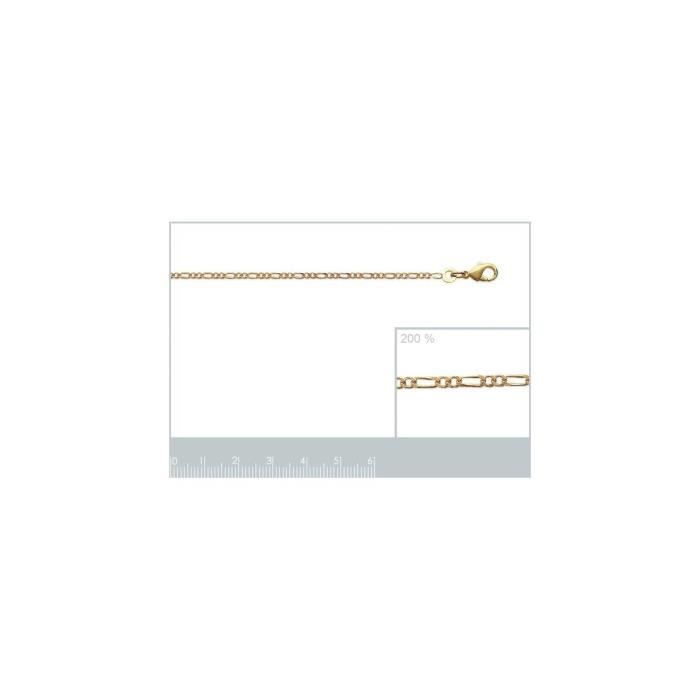 Isady - Figaro 1-2 2,40 mm / 60 cmGold - Chaîne Collier - Mixte - Plaqué or jaune 18K