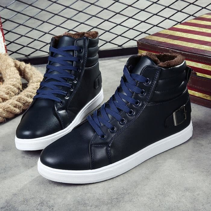hommes bottes de cheville fourrure doublé automne hiver Martin bottes chaussures bleu XEARXLEBN
