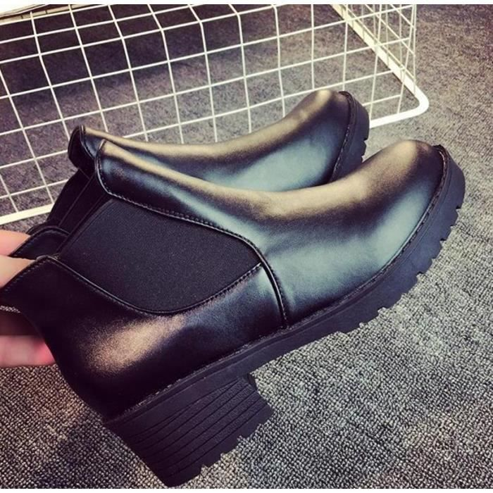 Bottes courtes en cuir nouveau hiver femme chaud élastique xsQ7qfFQV