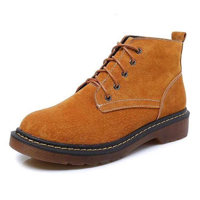 Martin bottes chaussures automne en cuir femme plus velours