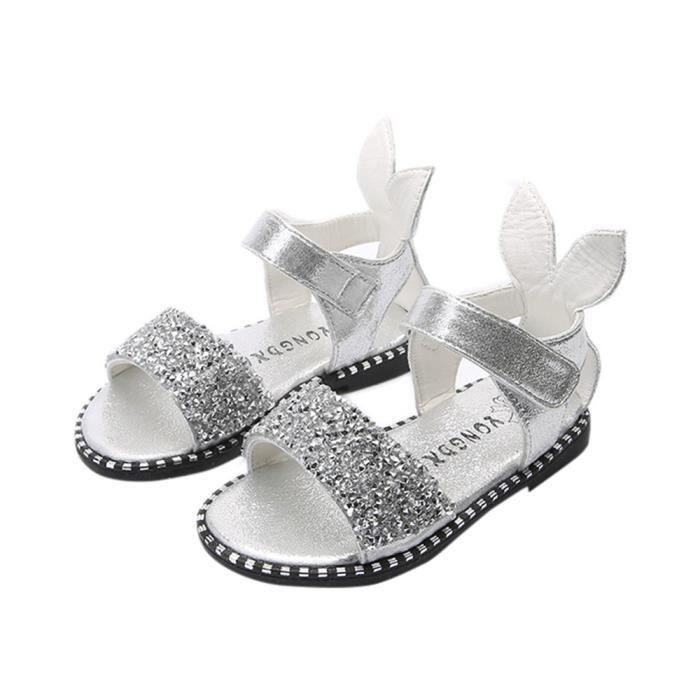 BOTTE Enfants Enfants Mode Bébé Lapin Oreille Paillettes sandales Filles Chaussures Placard@ArgentHM