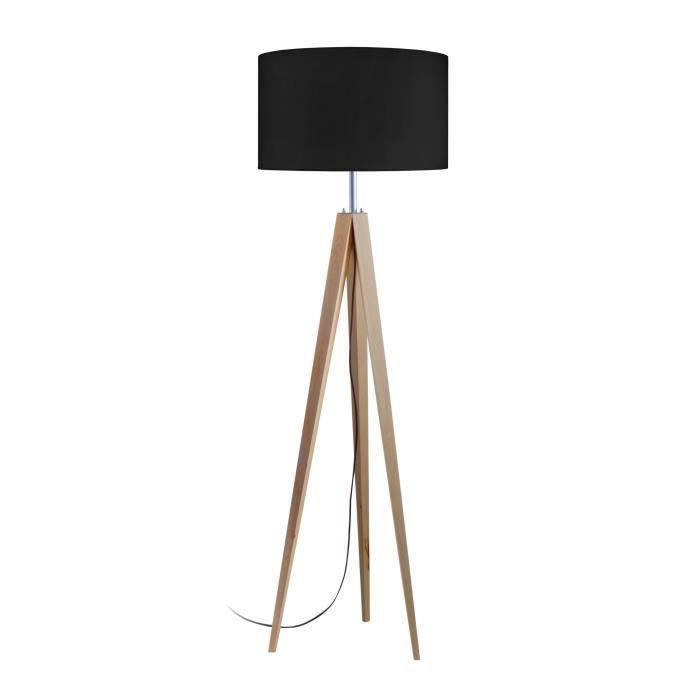 IDUN Abat-jour cylindrique en coton pour lampadaire trépied Idun 45x45x30 cm noir