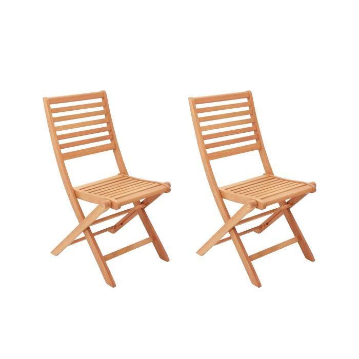 Lot de 4 chaise de jardin en teck - Achat / Vente pas cher