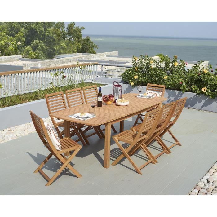 Ensemble repas de jardin - table extensible 180-240x90cm plateau ...