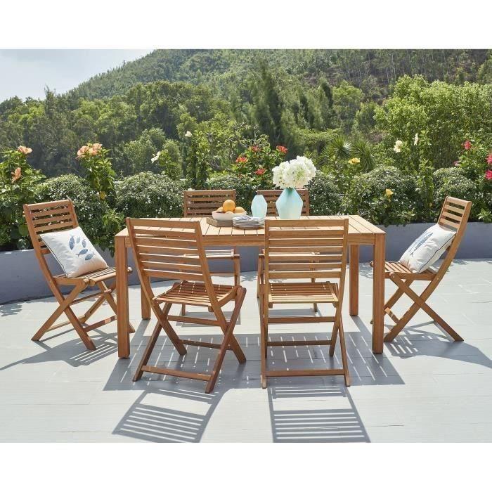 Ensemble repas de jardin - table rectangulaire 160x90cm et 6 chaises  pliantes