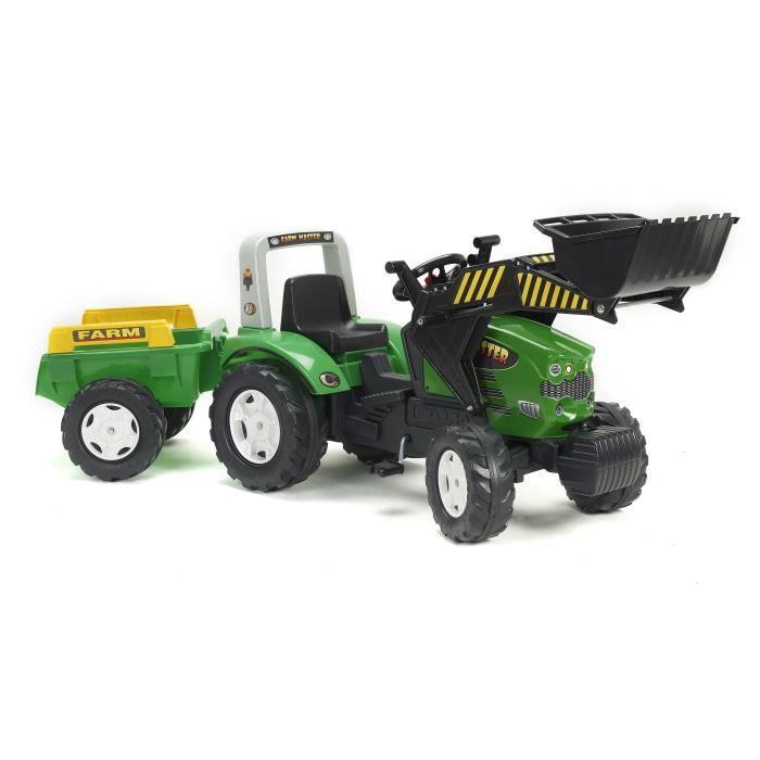 falk tracteur p dales vert farm master avec remorque. Black Bedroom Furniture Sets. Home Design Ideas