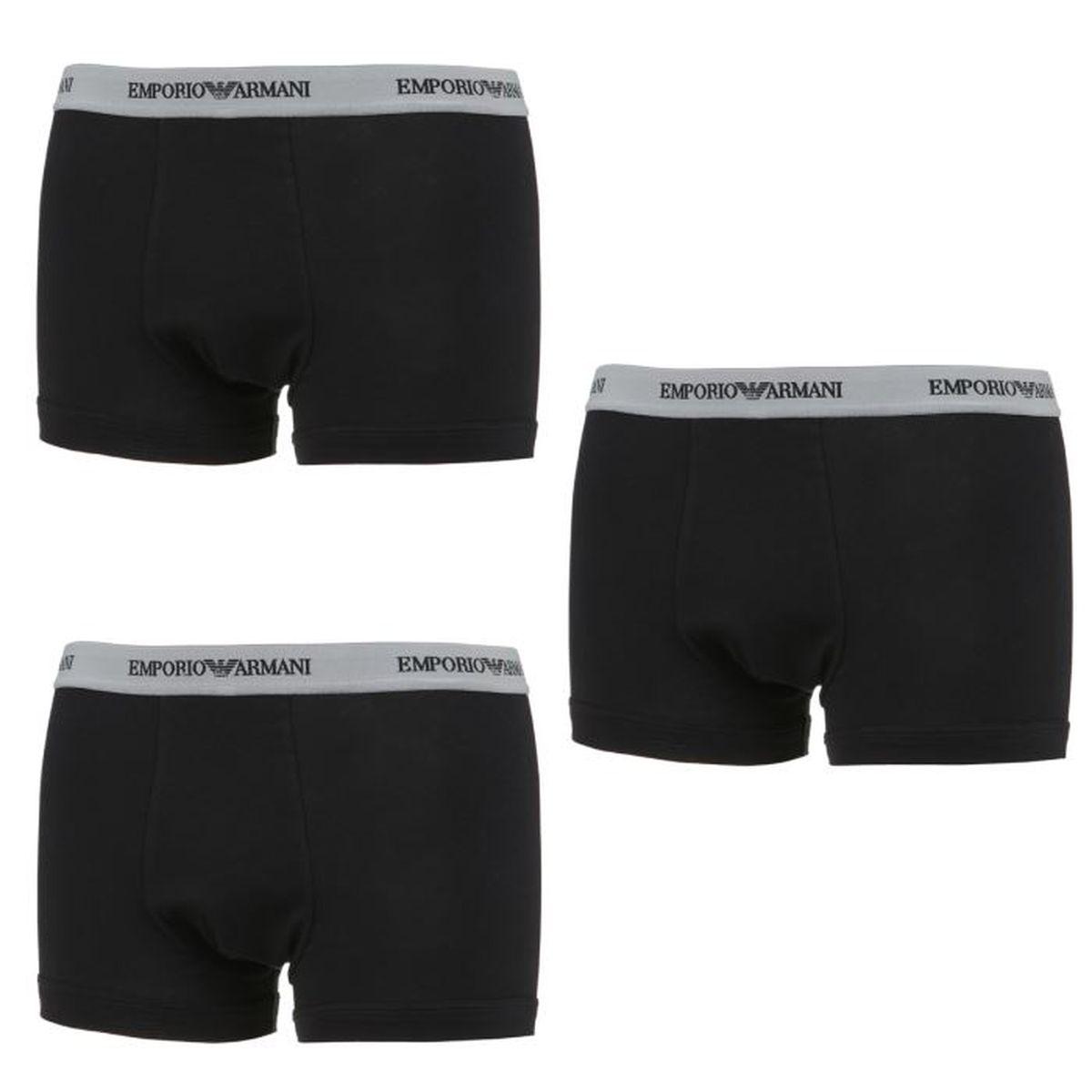 EMPORIO ARMANI 3 Packs Boxers Trunk Homme Noir - Achat   Vente boxer ... 89fc9e4989a3