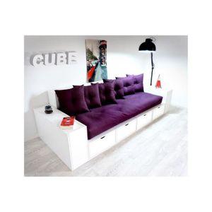 CANAPÉ - SOFA - DIVAN Canapé Cubes Blanc - Tiroirs couleur avec futon et