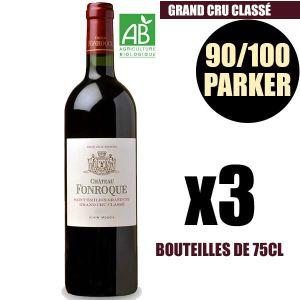 VIN ROUGE X3 Château Fonroque 2015 75 cl AOC Saint-Émilion G