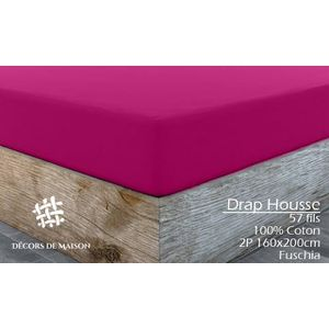 DRAP HOUSSE Drap Housse Uni en coton 2 Personnes 160X200cm -Gr