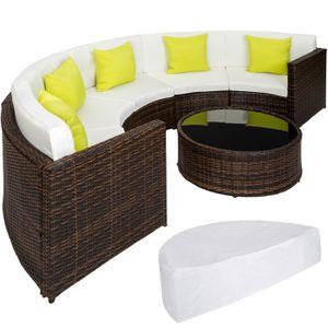 446c9394458b55 TECTAKE Salon de jardin COLISEUM - 1 Canapé, 1 Table en Résine Tressée et en