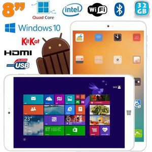 TABLETTE TACTILE Tablette Windows 10 + Android Dual Boot 8 pouces I